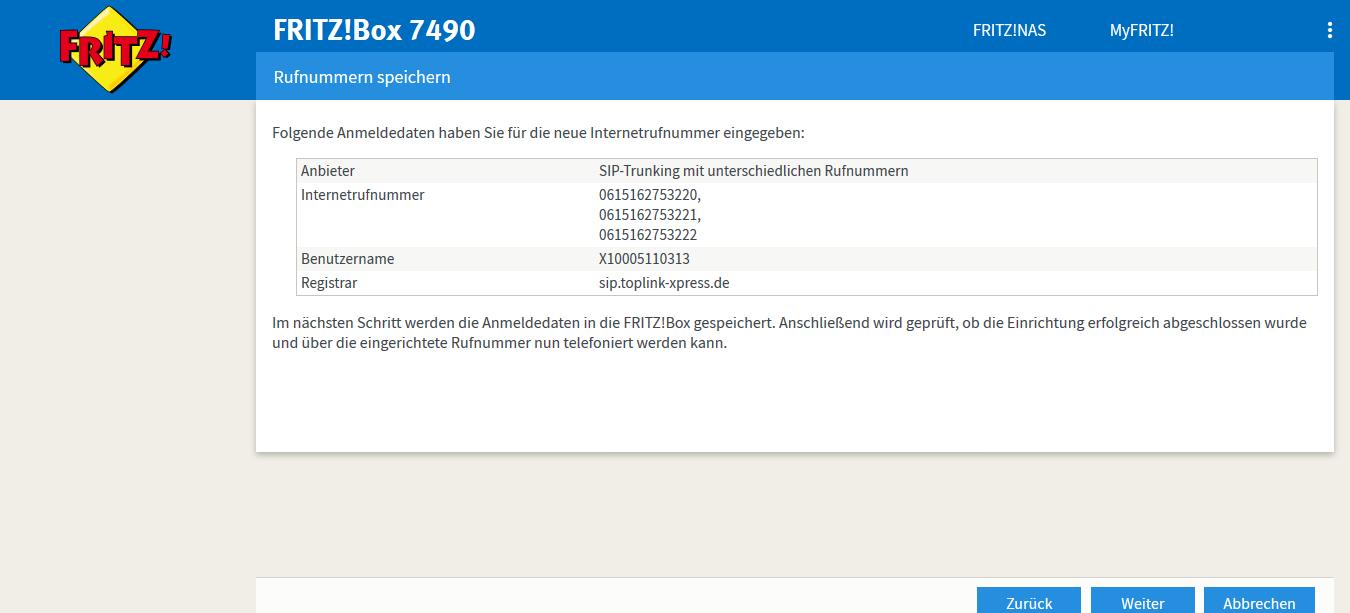 fritzbox 7490 keine rufnummern aktiv