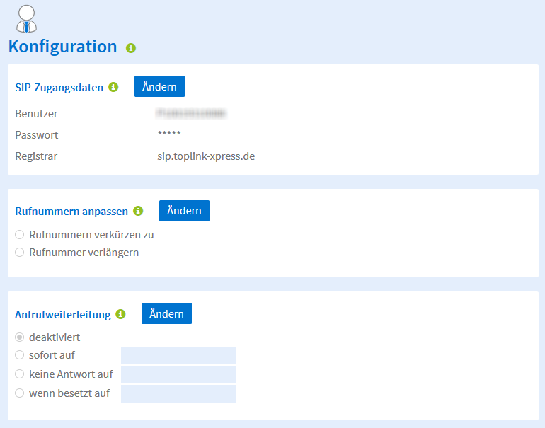 Rufnummern verkürzen oder Verlängern - Screenshot Kundenprotal